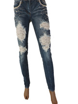 Machine Patch Lace Jeans Skinny Ripped Distressed Destroyed Embellished ... - $15.00