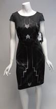 Sangria Black & Gray Geometric Cap Sleeve Sheath Dress Sz 4,6,8,16 NWT - $22.37