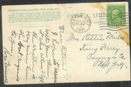 1931 (Feb 6) 1 cent Franklin on Postcard NY Penn RR Station - $4.00