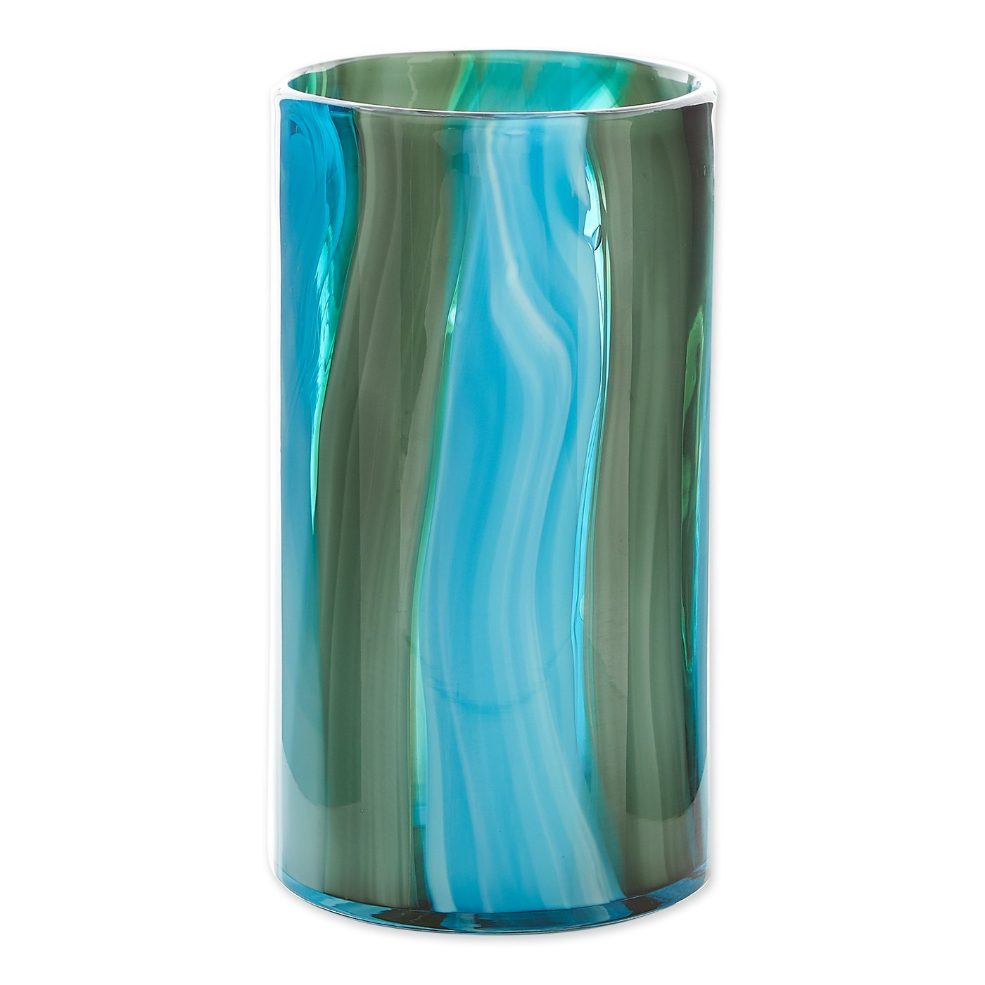 "Primary image for Waves of Blues Cylinder Art Glass Vase Large 10.25"" High"