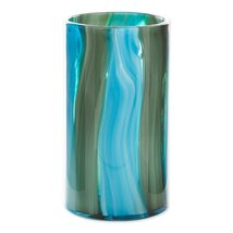 "Waves of Blues Cylinder Art Glass Vase Large 10.25"" High - $43.95"