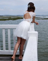 Caped Sleeve White Lace Wedding Dress Lace Short Women Bridal Gowns Back... - $125.00