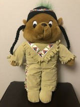 "Goffa Int Toy Indian Bear Plush Stuffed Animal Green Feather 17"" Native ... - $15.83"
