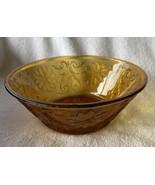 VINTAGE TIARA SANDWICH GLASS AMBER GOLD SERVING BOWL 8 3/8 INCH DIAMETER - $25.99