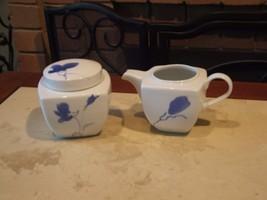 NEW NEVER USED Studio Nova MING BLUE covered sugar & creamer set ~~MIKASA - $41.57