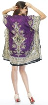 Short Ravishing Printed Kaftan~Beachwear V-Neck Purple Caftan Tunic~Free Size - $9.12