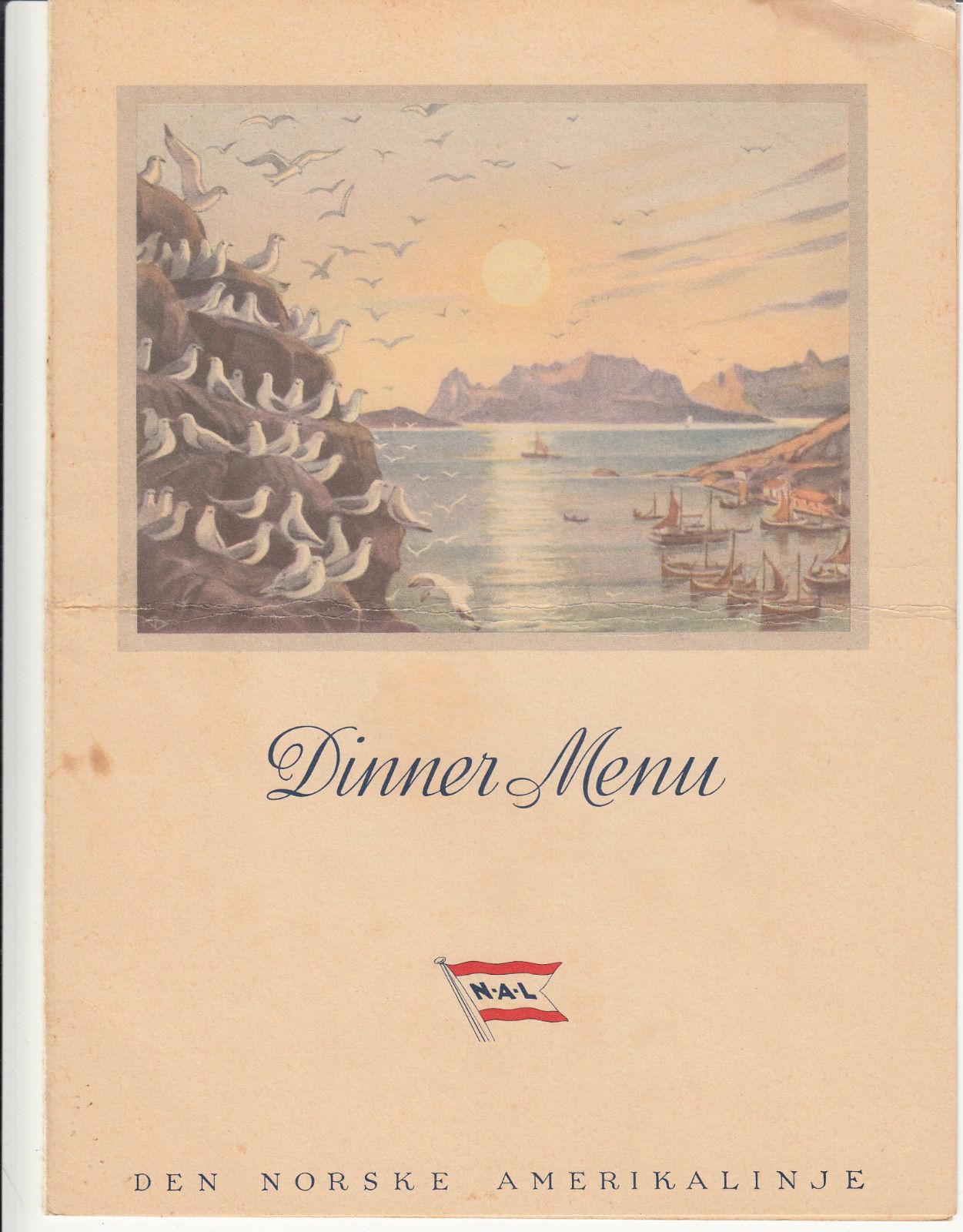 Den Norske Amerikalinje NAL Cruise Line Menu 1957