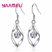 Woman New Fashion Shiny Cubic Zirconia 925 Sterling Silver Whirling Jewe... - $11.49