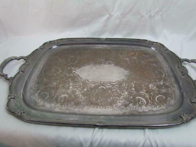 Large Silverplate Waiter Tray Remembrance 1847 Rogers Bros 22 In. Stamped 9898 - $246.99