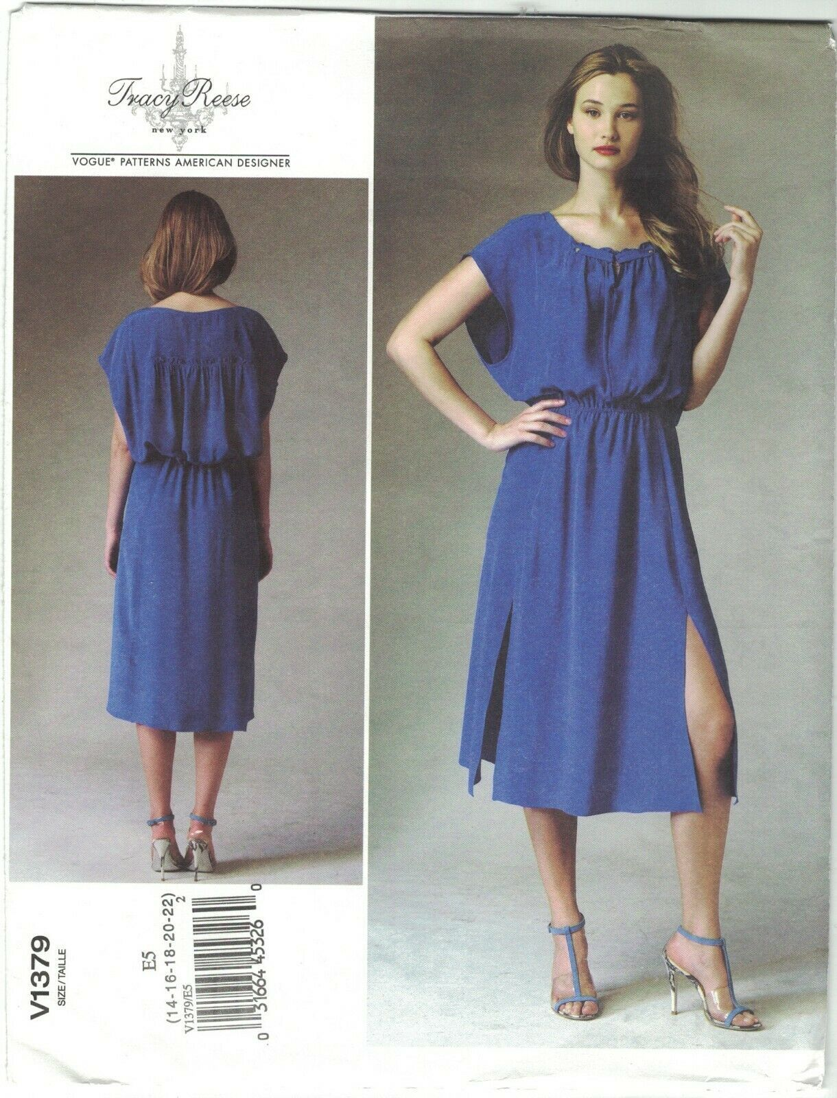 Primary image for Vogue 1379 Tracy Reese Boho Blouson Dress Side Slits Pattern Choose Size Uncut