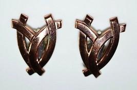 VTG Matisse RENOIR Signed RARE Openwork FAN Abstract Clip Earrings - $39.60