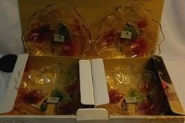 New in its Original Box Set of 4 Studio Nova Crystal Hibiscus Floral/Glass Bowls - $37.46