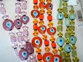 GLASS BEADS 7 IN STRANDS LAVENDER, ORANGE & GREEN EVIL EYES DIY JEWELRY ... - $2.99