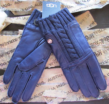 UGG Gloves Alexis Leather Knit Peacoat Small NEW $145 - $95.00
