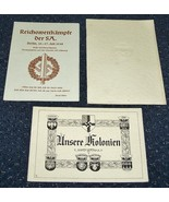3 ORIGINAL LATE 1930's NAZI DOCUMENT FOLDERS: SA, KOLONIALBUND, BERLIN, ... - $30.00
