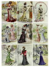 Printable Victorian Vintage Ladies Fashion Digital Collage Sheet  Scrapb... - $2.50