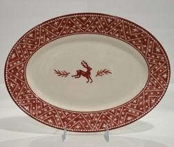 "Dansk Nordic Knits Red Reindeer 15"" Oval Platter- Excellent Condition - $59.40"