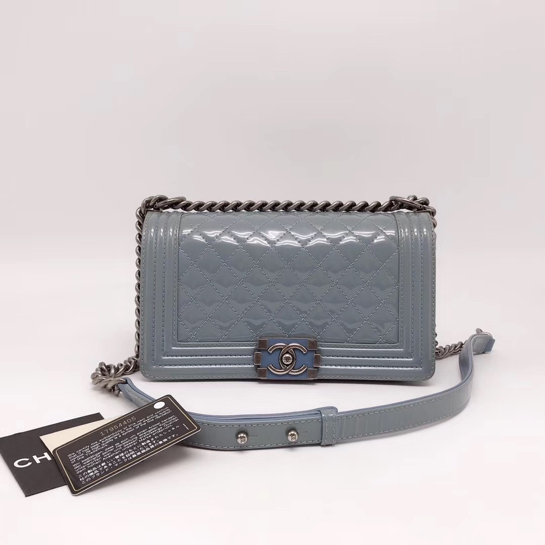 60961b7af367 Authentic Chanel Quilted Patent SKY BLUE RARE MEDIUM Boy Flap Bag ...