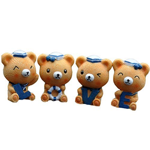 Lovely Sailor Bear Car Decorations Resin Auto Interior Ornaments,4Pcs,1.91.5''