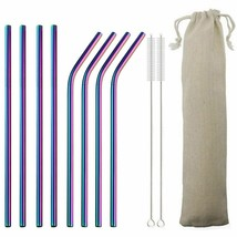 Reusable Drinking Straws Stainless Steel Straw Party Birthday Straw With... - $6.57+