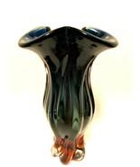 Egermann Bohemia Art Glass Vase Cobalt & Amber Czech Republic 13.5 inche... - $188.09