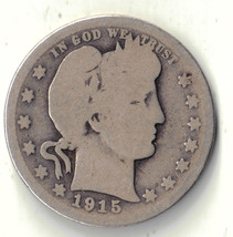 1915 S BARBER LIBERTY HEAD QUARTER 25 CENT SILVER USA COIN  RARE DATE #DBW - $14.99