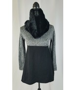 Style & co women PP scarf tunic sweater faux fur scarf gray black - $34.65