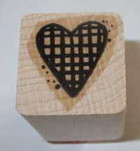 HEART Grid Rubber Stamp Close To My Heart Love Wood Mounted   - $3.16