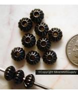 12 Black Chapado 8mm Acanalado Hogan Cuentas Separadoras Metal Relleno f... - $1.49