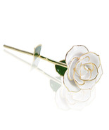 WR Dipped 24K Gold Genuine White Rose In Gift Box Flower for Valentine B... - $32.70