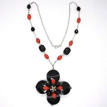 925 Silver Necklace, Agate Faceted Disc, Onyx, Coral, Flower Pendant image 2