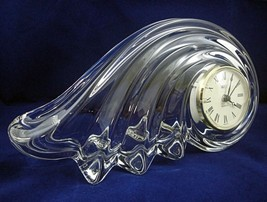 Mikasa Clearwater Wave Clock Germany Lead Crystal Quartz Mantle Desk w/Batteries - $29.65