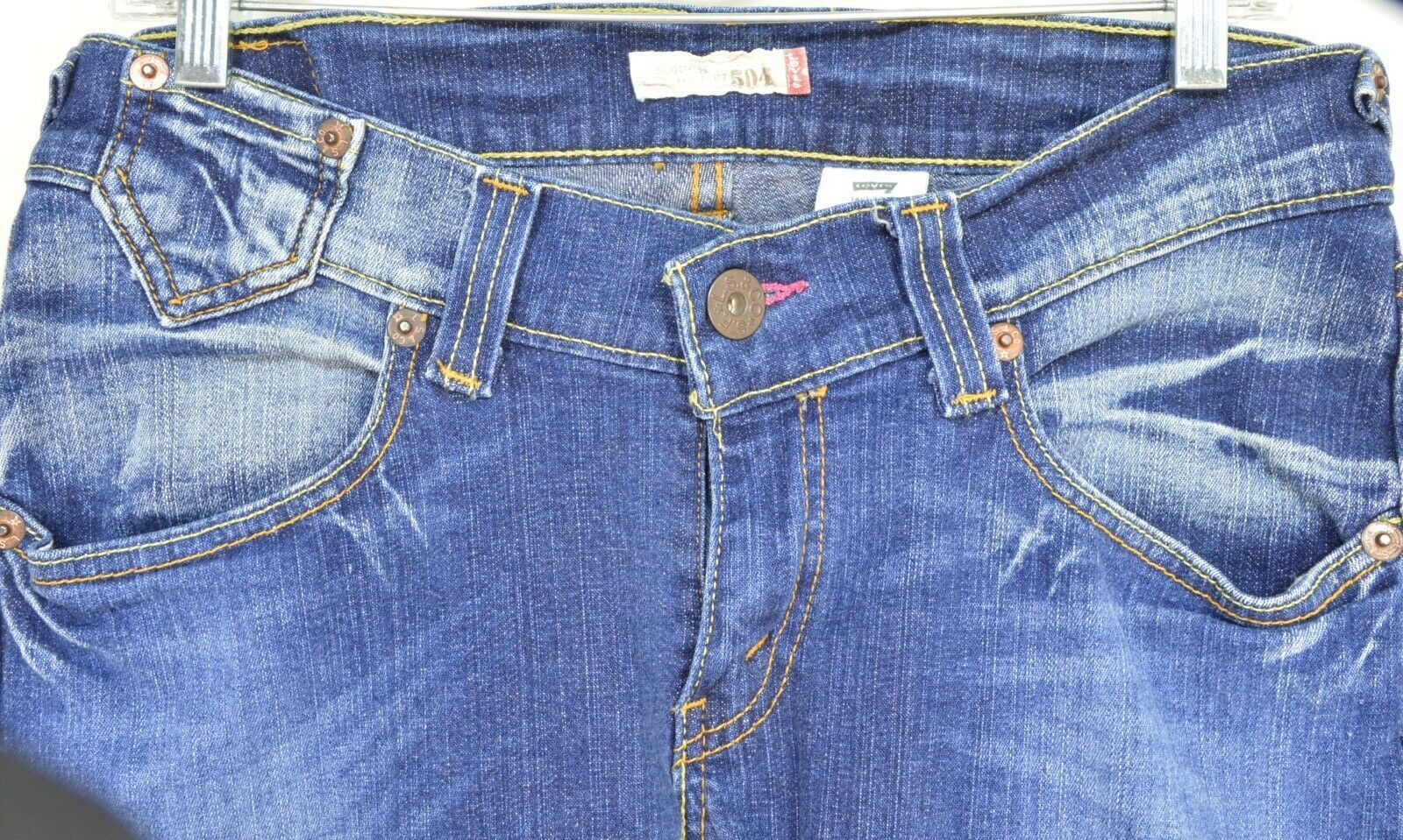 Levi 504 7 x 32 slouch straight leg low rise dark wash image 4