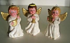 Vintage Angel Christmas Ornament Set 3 Porcelain Musical Instrument  3.5... - $12.59