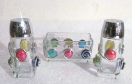Handcrafted Glass Wire Design Colored Pebbles with Salt & Pepper Set w/ ... - $35.99