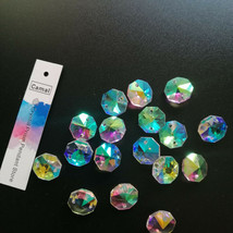200Pcs 14mm ABColor Colorful Crystal Octagonal Loose Beads 2Holes Chandelier DIY - $21.31