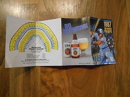 Old Vintage 1987 Milwaukee Brewers Baseball Pocket Schedule Seating Chart Miller - $9.99