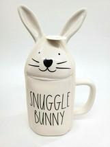 RAE Dunn SNUGGLE BUNNY Coffee Mug W Lid #181 By Magenta Glossy White Eas... - $29.99