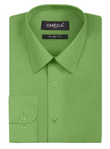 Omega Italy Men's Premium Slim Fit Button Up Long Sleeve Solid Color Dress Shirt image 2