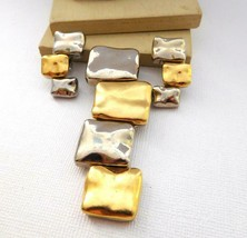 Vintage Modernist Silver Gold Tone Mixed Metal Pendant Clip On Earrings ... - $20.39