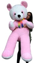 American Made 6 Foot Giant Stuffed Panda Bear 72 Inches Pink Soft Made i... - $127.21
