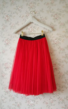 Red Elastic Waist 3 Layer Tulle Tea Length Midi Skirt, Plus Size Tulle Skirt NWT image 4