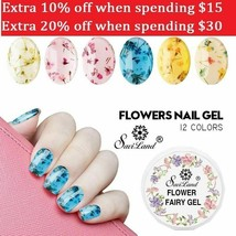 Saviland Natural Dried Flower Fairy Nail Gel Polish Floral Soak Off UV LED 12C - $2.19+