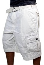 Levi's Men's Premium Cotton Cargo Shorts With Belt Relaxed Fit White 13581-0009