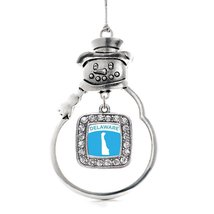 Inspired Silver Delaware Outline Classic Snowman Holiday Christmas Tree Ornament - $14.69