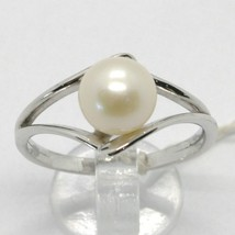 SOLID 18K WHITE GOLD BAND PEARL RING ONDULATE WAVE, EYE, SOLITAIRE MADE IN ITALY image 1