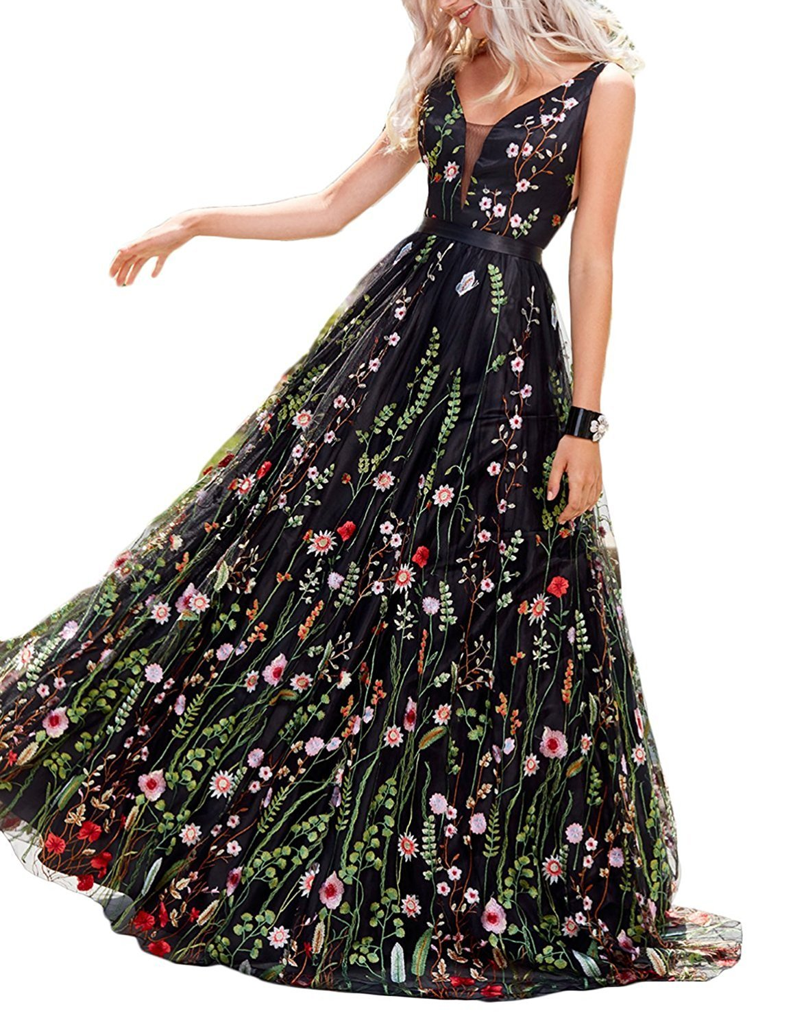 Women's Black Ball Gown Embroidery Prom Dress Floral Print Long Evening Dresses