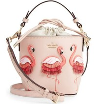 Kate Spade BY THE POOL Flamingo Pippa Leather Warm Vellum BUCKET BAG - N... - $197.99