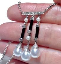 Art Deco Onyx Baby Pearl seeds Diamonds Drop Pearls necklace Belcher 14k... - $905.35