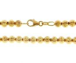 """18K YELLOW GOLD BALLS CHAIN WORKED SPHERES 4mm DIAMOND CUT, FACETED 18"""", 45cm image 1"""